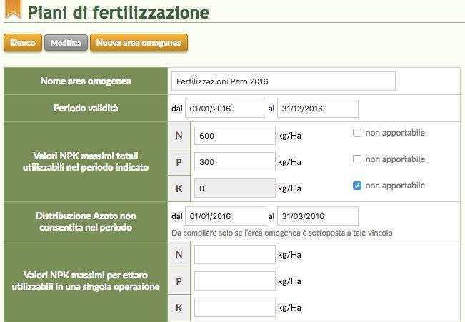 Schermata del Software QdC - Quaderno di Campagna relativo ai piani di fertilizzazione e ai periodi di non applicazione di Azoto