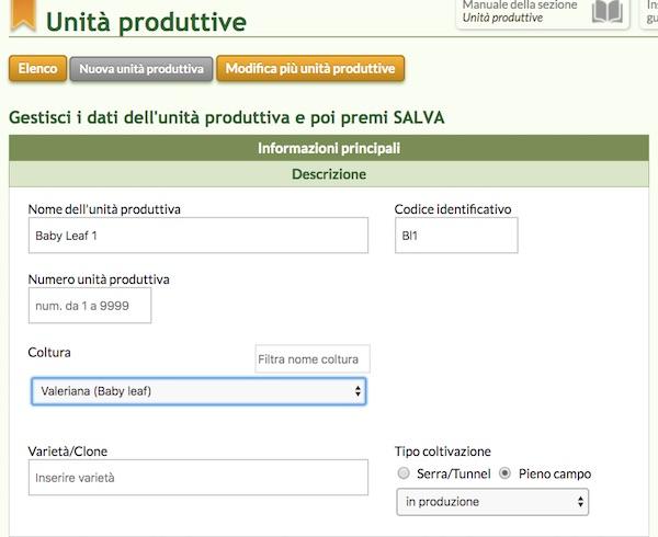 QdC® - Quaderno di Campagna® schermata del software relativo all'unità produttiva di Baby Leaf