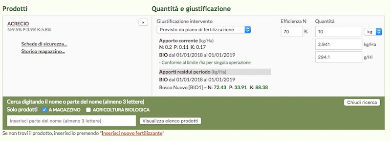 QdC - Quaderno di campagna ti permette di specificare l'efficienza dell'azoto applicato