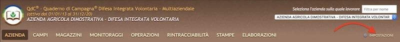 Il menu impostazioni di QdC® - Quaderno di Campagna® si trova a destra nella schermata