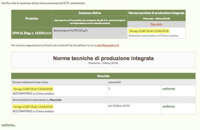 Schermata del software che riporta il controllo dell'ammissibilità di determinate sostanze attive in specifici periodi