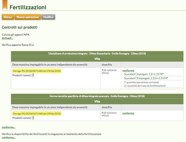 Schermata del software relativa alla verifica degli apporti di Rame derivato da fertilizzazioni e trattamenti fitosanitari
