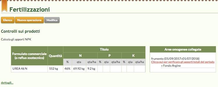 Schermata del software relativa ai controlli sulle fertilizzazioni