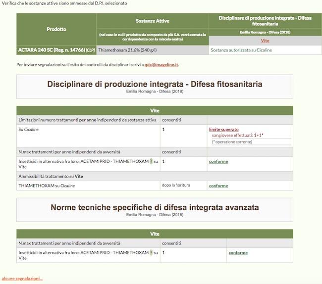 Schermata del software online di dettagli del controllo sul numero massimo di trattamenti su singola avversità