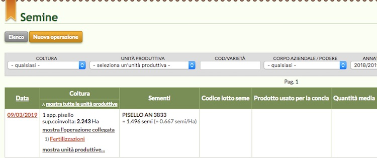 Schermata del software online relativo all'elenco delle operazioni con dettagli degli interventi collegati