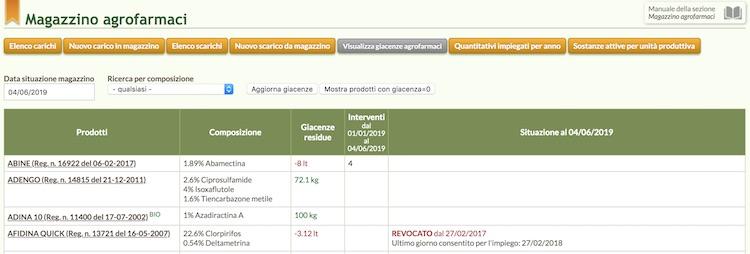 schermata di QdC - Quaderno di Campagna relativa al magazzino agrofarmaci
