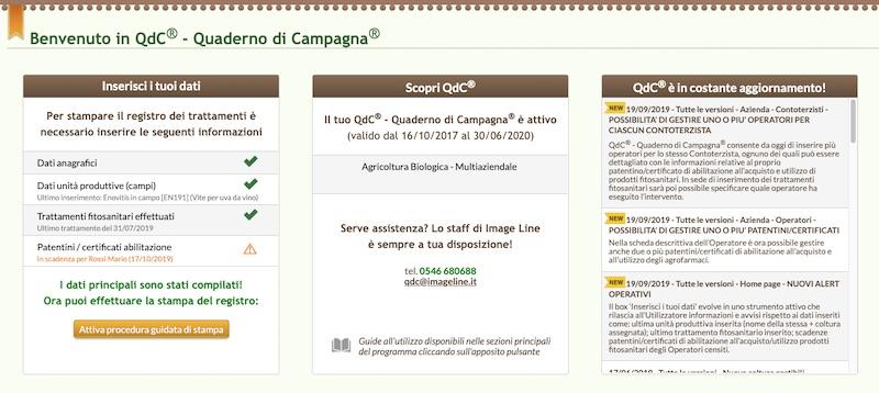 La home page di QdC con i nuovi avvisi e le nuove informazioni