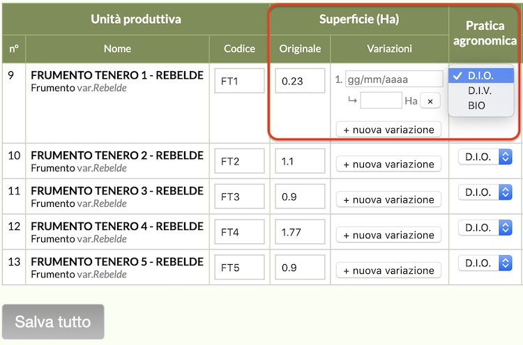 Con QdC® - Quaderno di Campagna® puoi gestire le variazioni di superfici di più unità produttive contemporaneamente