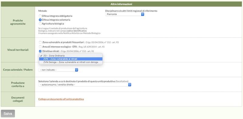 Nella schermata dell'Unità produttiva puoi indicare a quale tipo di vincolo deve sottostare