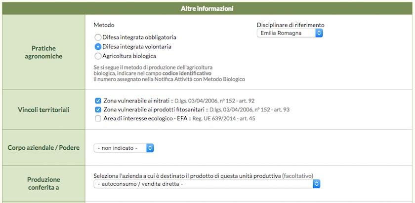 Schermata di QdC - Quaderno di Campagna relativa alla presenza di zone vulnerabili a nitrati
