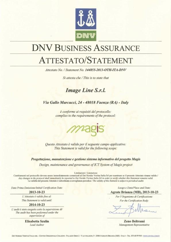 Certificato DNV Sistema Informativo Magis