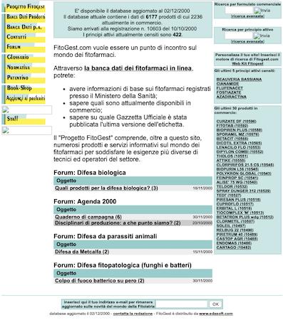 Versione di Fitogest.com nel 2000