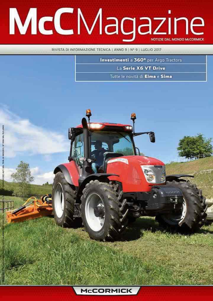 Copertina dell'ultimo numero dell'house organ McCMagazine del brand McCormick di casa Argo Tractors
