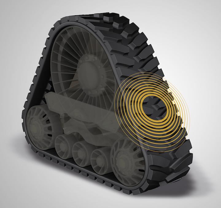 I cingoli in gomma sono allestiti con innovativi sensori per prevenire i danni