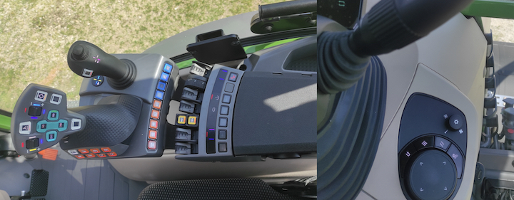 A sinistra il nuovo bracciolo e a destra la manopola in stile automotive