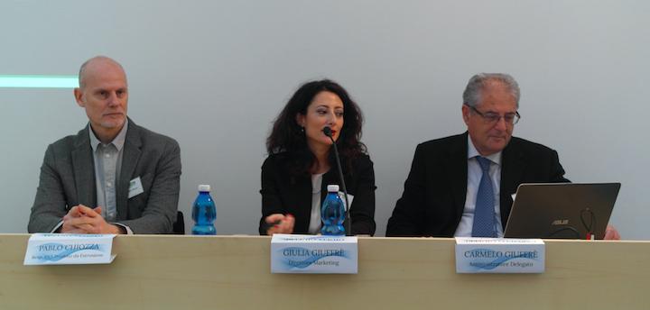 Da sinistra Pablo Chiozza - Resp prodotti da estruzione; Giulia Giuffre` - Direttore Marketing; Carmelo Giuffre` - AD