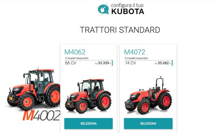Schermata iniziale del nuovo configuratore Kubota