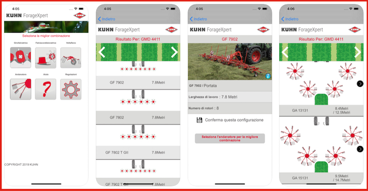 Istantanee dall'app KUHN ForageXpert