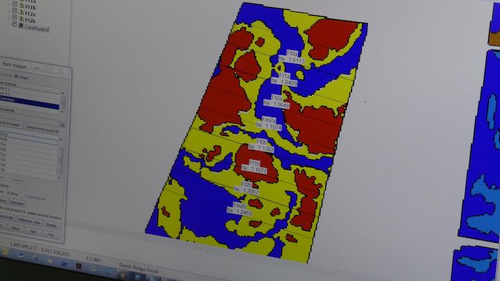 Mappa del suolo: i diversi colori indicano diversa tessitura, livello di fertilità