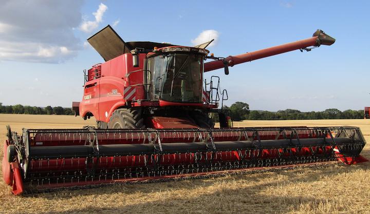 Testata da grano sulla mietitrebbia Case IH Axial Flow 7250