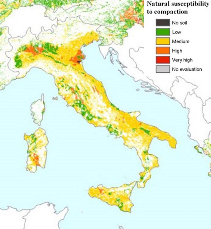 Agricoltura conservativa - Mappa suscettibilità a compattamento suoli italiani