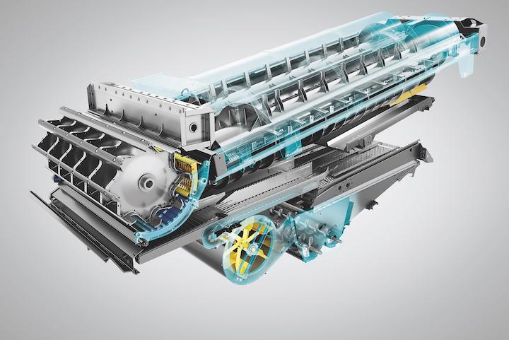 Sistema di trebbiatura convenzionale e sistema di separazione Twin Rotor® sulla New Holland CH7.70