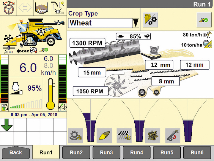 Schermata del sistema di automazione New Holland IntelliSense™