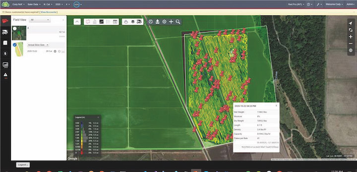 Posizione delle balle visualizzabile su MyPLM Connect Farmdi New Holland