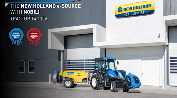 Trattrice New Holland T4.110V e irroratrice Nobili e-Sprayer