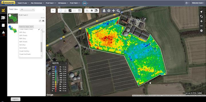 Dati sulle proteine visualizzati su New Holland MyPLM™ Connect