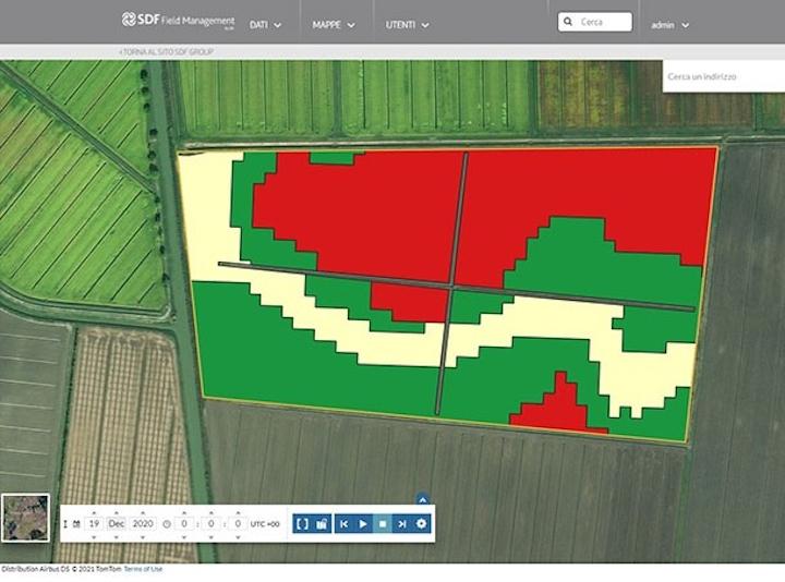 Mappa creata dal Dss Concimazione di SDF Field Management