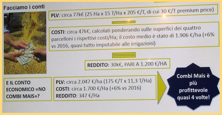 Analisi costi-ricavi del progetto Combi Mais 4.0