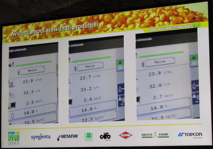 22-24 tonnellate di granella per ettaro, rilevate in alcuni punti dei campi Combi Mais 5.0