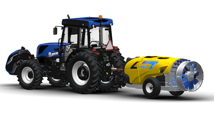 Nobili E-Sprayer, alimentato dal generatore E-Source sul trattore New Holland T4.110V