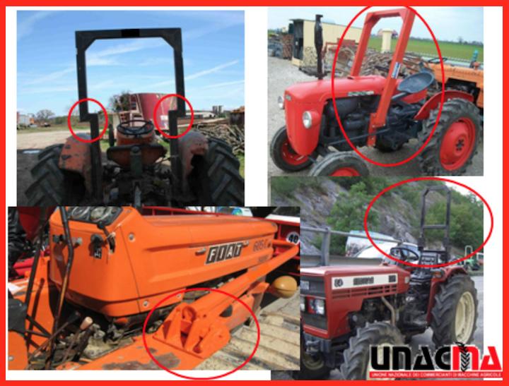 Esempi di trattori agricoli adeguati, ma non conformi alla normativa