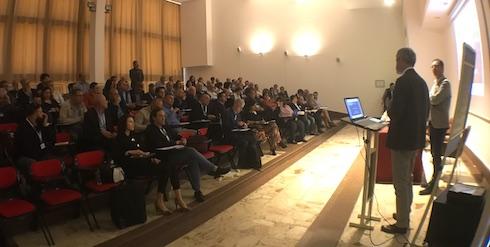 Un momento dell'intervento di apertura del convegno sui biostimolanti, realizzato grazie alla collaborazione fra Università della Tuscia - Dafne, CREA, Università di Napoli Federico II