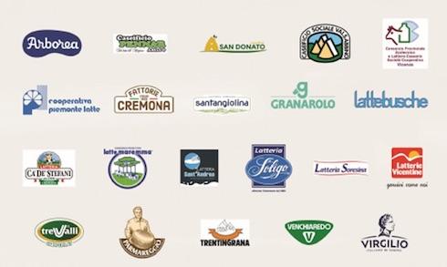 Loghi delle cooperative e delle aziende che hanno aderito alla campagna Verde, latte, rosso